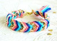 Carnival Candy - Peachy Keen, Neon Pink, Capri Blue & Rich Navy - Chevron Braided Modern Friendship Bracelet - Gold Chain