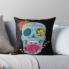 Promote | Redbubble Sugar Skull Design, Throw Pillows, Toss Pillows, Decorative Pillows, Decor Pillows, Scatter Cushions