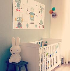 Dutch children's room is so inspiring and surprising me, welcome to kids collection by Dutch magazine Lampe Miffy, Miffy Lamp, Nursery Room, Kids Bedroom, Baby Room, Robot Nursery, Nursery Ideas, Room Ideas, Deco Kids
