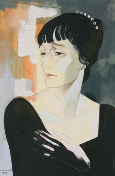Анненков Ю. П.  Портрет А. А. Ахматовой. 1921 Бумага, гуашь