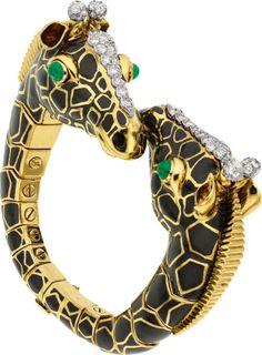 Diamond and Emerald, Enamel, Horse Bracelet, David Webb Insect Jewelry, Bird Jewelry, Enamel Jewelry, Jewelery, Jewelry Design, Giraffe Jewelry, Black Jewelry, David Webb, Jacqueline Kennedy Onassis