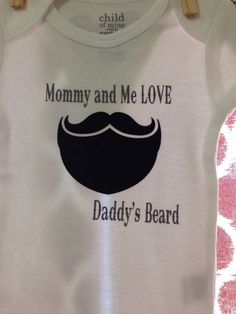 Mustache and Beard Baby Onesie // Mommy and Me Bodysuit Toddler Outfits, Baby Boy Outfits, Baby Onesie, Onesies, I Love Daddy, Baby Momma, Butterfly Baby, Baby On The Way, Mommy And Me