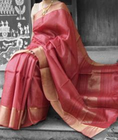 Tussar Silk Saree with woven borders