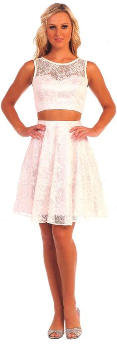Homecoming Dresses Short Dresses UNDER $100<BR>4992<BR>Two piece short dress featuring lace overlay scoop neckline bodice