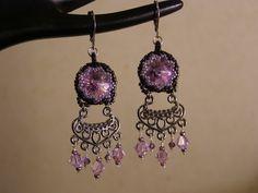 Chandelier Earrings – Violet purple crystal chandelier earrings – a unique product by DarkEyedJewels on DaWanda Etsy Earrings, Drop Earrings, Handmade Jewellery, Chandelier Earrings, Crystals, Purple, Unique, Jewelry, Handmade Jewelry