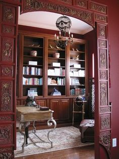 Rolling Hills Library - asian - home office - orlando - by Doug Hamilton Kitchens, Inc