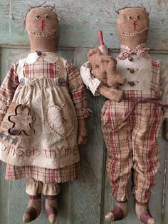 Primitive Gingerbread Doll Pattern-SPPO Prim Gingers-Christmas Dolls by stitchinsewprim on Etsy https://www.etsy.com/listing/198177293/primitive-gingerbread-doll-pattern-sppo