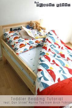 Toddler Bedding Tutorial In Marine Too Organic Fabric Collection By Dan  Stiles For Birch Fabrics   Via The Crafty Kitty
