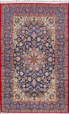 "Buy Esfahan Persian Rug 3' 5"" x 5' 9"", Authentic Esfahan Handmade Rug"
