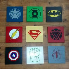 Super hero signs.  Boys room decor.  Green lantern.  Batman.  Hulk.  Spiderman.  Captain America.  Superman.  Avengers.  Made by Danica Hoyle 2016. Facebook @mynewvinylfriend