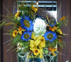 Grapevine Wreath with PERIWINKLE and YELLOW by decoglitz on Etsy