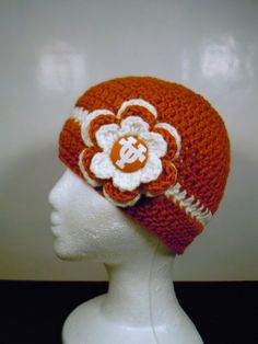 Crocheted Beanie with Flower UT University by OliviaRyanbyDGuess, $20.00