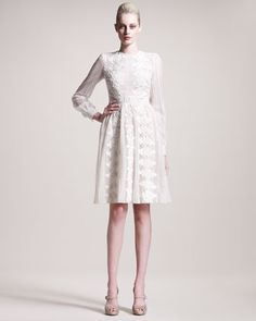 My next wedding dress!!!! LOVE IT!!!  Long-Sleeve Embroidered Dress by Valentino at Bergdorf Goodman.