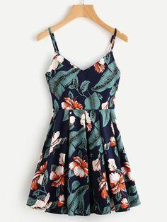 Shein Leaf Floral Print Random Box Pleat Cami Dress