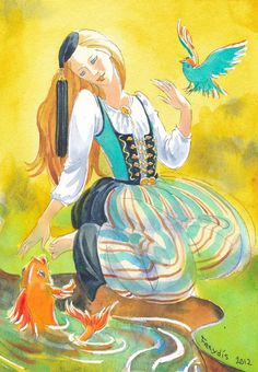 Freydís Kristjánsdóttir, watercolour and ink. A fish, a bird and a girl wearing upphlutur, an icelandic national costume.