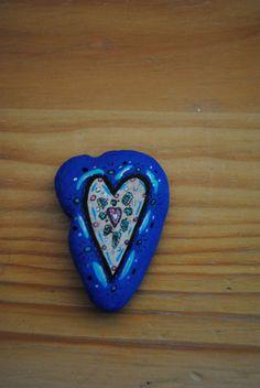 Blue Heart hand painted rock. $5.00, via Etsy.