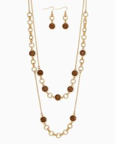 charming charlie   Dallas Afternoon Station Necklace Set $15   UPC: 400000273129 #charmingcharlie
