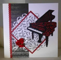Stamping and punching template, Tattered Lace Piano Beautiful Handmade Cards, Hobbies And Crafts, Greeting Cards Handmade, Vintage Cards, Activities For Kids, Piano, Embellishments, Birthday Cards, Projects To Try