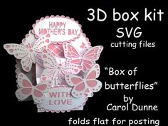 - A beautiful box full of butterflies. It folds flat for posting and has full photographic instructions included as PDF files. 3d Cards, Pop Up Cards, Silhouette Design, Silhouette Files, Silhouette Studio, Explosion Box, Butterfly Cards, Svg Files For Cricut, Hobbies And Crafts