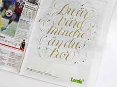 #lettering #quote #jungvonmatt #lendo by Björn Berglund Creative Studio, www.bjornberglund.com.