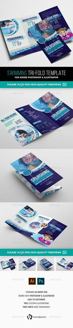 Local Swimming Pool Tri-Fold Brochure Template PSD, AI