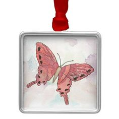 Red Butterfly Ornament from Original Watercolor Painting Christms Holiday Tree…