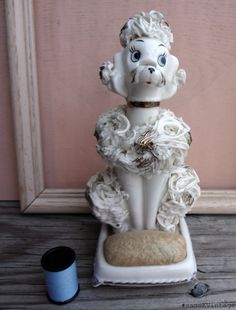 Vintage Spaghetti Poodle Pin Cushion and Scissor Holder 1950s Sewing.