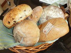 Fruit bread, pesto bread, pain de campagne, onion bread and beer & honey bread
