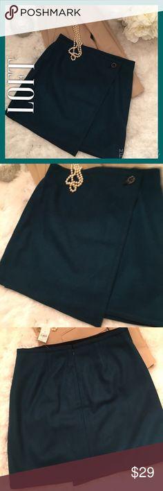 NWT LOFT Teal Wool Skirt. New this season NWT LOFT Teal Wool Skirt. New this season. Note the beautiful sharp lines of the skirt. Great quality. LOFT Skirts Mini