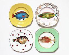 Fancy Fish plates set por yvonneellen en Etsy, $69.00