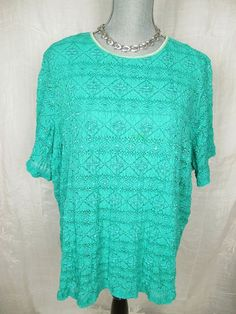 Maggie Barnes 3X 26 28 Top Teal Green Lace Blouse Womens Shirt #MaggieBarnes #Blouse #Casual