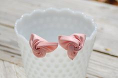vintage 1960s blush pink leather shoe clips, breast cancer fund