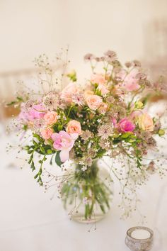 Pink Wedding Flowers - Kirsty Mackenzie Photography | Marquee Back Garden Wedding