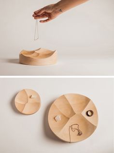 : Kutarq Studio have designed Carved, a set of solid wood trays that were inspired by the texture left in yogurt when eating it with a spoon. Wood Tray, Wood Design, Jewellery Display, Wood Turning, Wood Crafts, Wood Projects, Yogurt, Solid Wood, Furniture Design