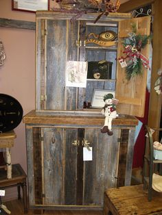 Barn wood cabinet made from vintage barn wood