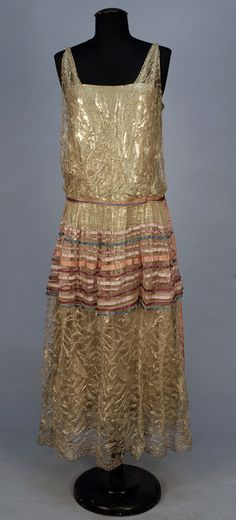 Dancing dress, 1920's: Back when boyish figures were in vogue, which is the only way to pull off a dropped waist. :-)