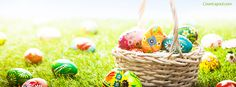 Easter Eggs and Basket Facebook Cover coverlayout.com