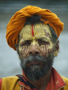 "Sadhu , Kathmandu. His tilak is ""Rama Rama Rama..."" written in devanagari script, repeated all over."