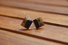 Amber earrings amber and coal sterling silver by BalanceAtelier