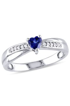 0.25 CT Created Blue Sapphire & Diamond Ring In Silver - Beyond the Rack