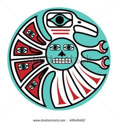 pacific tribal arts designs | jpeg symbolic bird design in pacific northwest native style. - stock ...