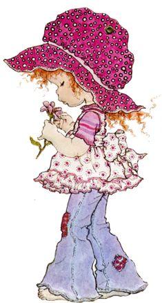 Sarah kay, thomas kinkade, vitrine miniature, cute drawings, illustration g Sarah Key, Holly Hobbie, Vintage Girls, Vintage Art, Sara Key Imagenes, Illustration Blume, Illustration Kids, Flower Sketches, Hobby Horse