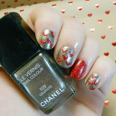 Heart nail art using Chanel Graphite and Barry M Red Glitter from www.beaut.ie    I want to recreate this!! looking yum!!