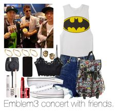 """""""Emblem3 concert with friends."""" by welove1 ❤ liked on Polyvore featuring Forever 21, Topshop, For Love & Lemons, Converse, Benefit, Fuji, And Mary and ASOS"""