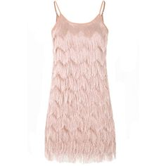 Light Pink Soft Fringe Cami Dress (£23) ❤ liked on Polyvore featuring dresses, dresses pink, pink, holiday party dresses, night out dresses, embellished dress, light pink camisole and fringe party dress