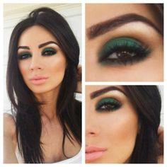 Emerald eyeshadow, pretty with dark features!