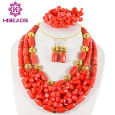 Fabulous African Wedding Jewelry Sets Nigerian Red Coral Beads Bridal Jewelry Set Bride Gift Jewelry Set Free Shipping CB002