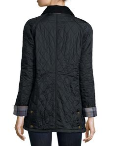 Diamond Quilt Jacket with Fleece Lining, Black
