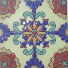 High relief tiles have their pattern elevated over the background. It is created by using special painting technique. #highrelieftiles #mymexicantiles #relieftiles