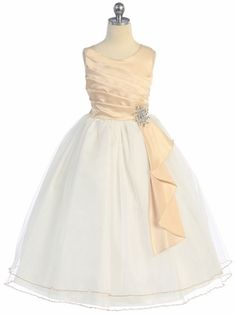 Taupe Satin Dress with Tulle Skirt and Rhinestone Brooch